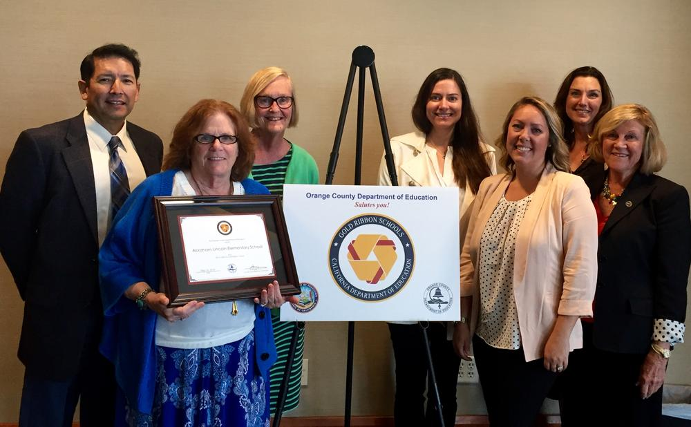 Lincoln Elementary receiving Gold Ribbon Award